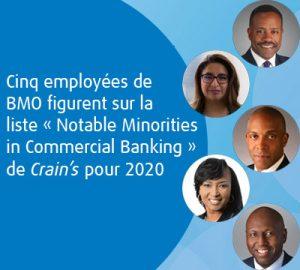 Cinqemployées de BMO figurent sur la liste «Notable Minorities in Commercial Banking» de Crain's pour 2020