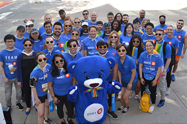 Employees with BMO the Bear mascot
