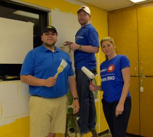 BMO employees help with painting at Neighborhood House
