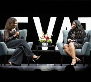 Michelle Obama speaks with Rose McGowan