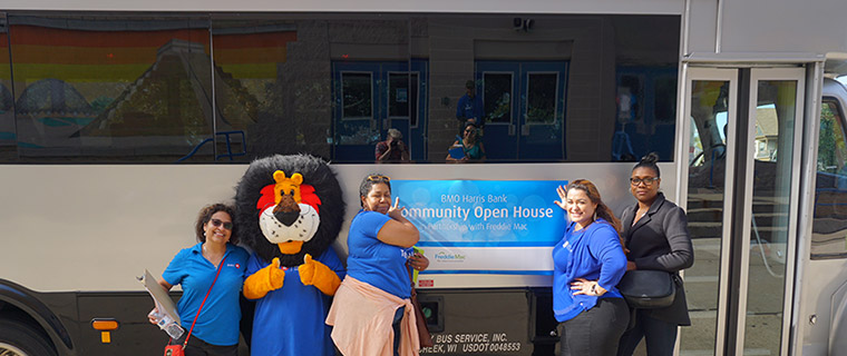 Hubert the Lion, the mascot for BMO Harris Bank, attends a Community Open House