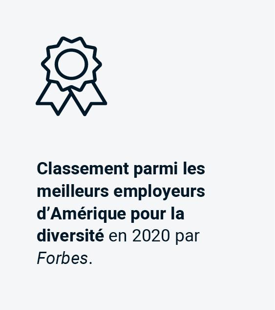 Classement parmi les meilleurs employeurs d'Amérique pour la diversité en 2020 par Forbes.