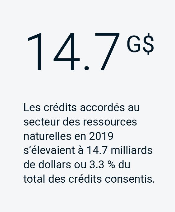 Les crédits accordés au secteur des ressources naturelles en 2019 s'élevaient à 14.7 milliards de dollars our 3.3 % du total des crédits consentis.